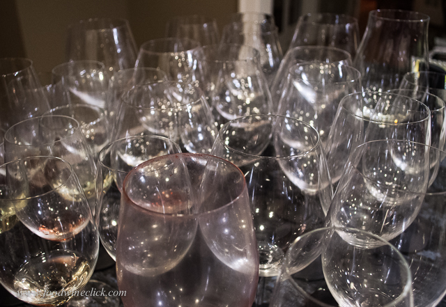 Aftermath of a good wine dinner: glasses, lots of glasses