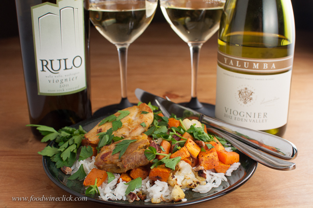 Curry chicken, sweet potatoes & cauliflower on basmati rice