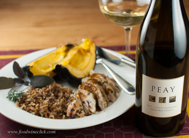 A full bodied Viognier is a nice match for this earthy meal
