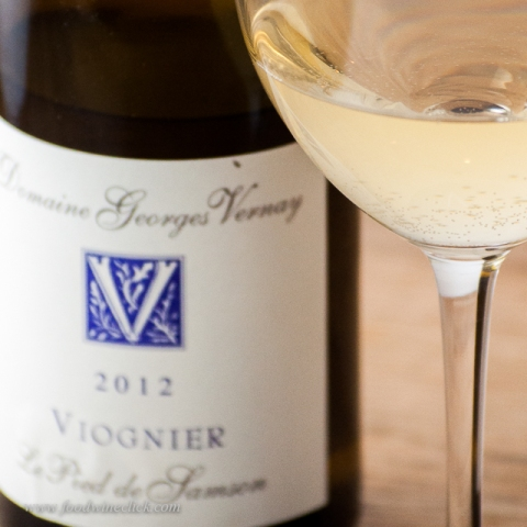 Georges Vernay Viognier, almost Condrieu.  Note the tiny bubbles in the glass.