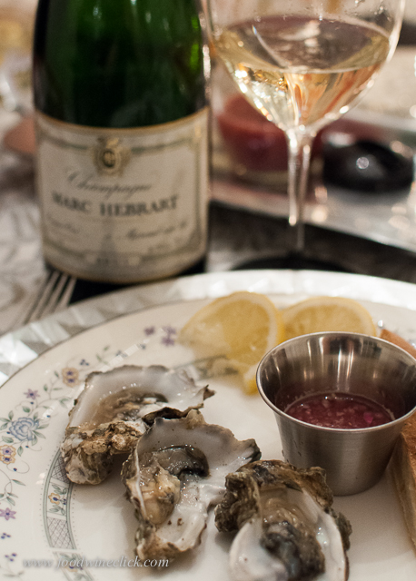 Oysters, lemon, mignonette sauce, Champagne.  What else do you need?