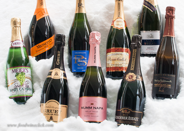 Here's our lineup for a complete sparkling wine sampler at New Year's Eve