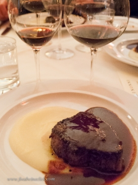 "Beef tenderloin with Nebbiolo glaze and parsnips, served with Barolo ""Bussia"" aged in a combination of barrique and botte for 30 months"