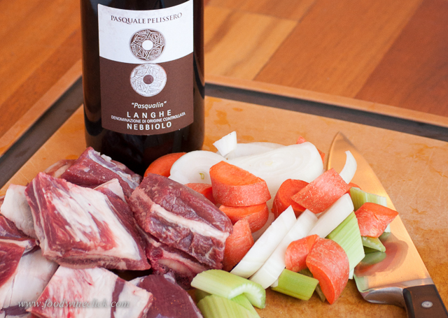 Perfect ingredients: local farm raised beef with Langhe Nebbiolo from Piemonte