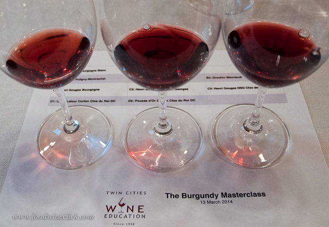 The wines have different color and flavor as you move through the hierarchy