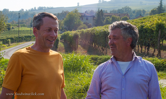 Nicola's father, a winemaker at one of the major Barolo producers, checks in