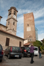 Barbaresco: Square tower with attached glass elevator behind