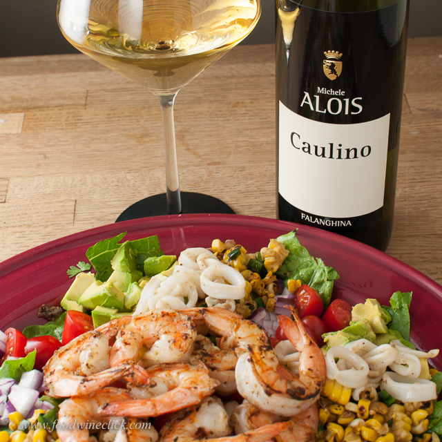 Rich calamari and avocado love the full mouthfeel of this Falanghina