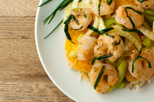 shrimp fennel orange celery chives