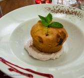 Dessert: Raspberry & white chocolate cake on whipped cream w/ mascarpone