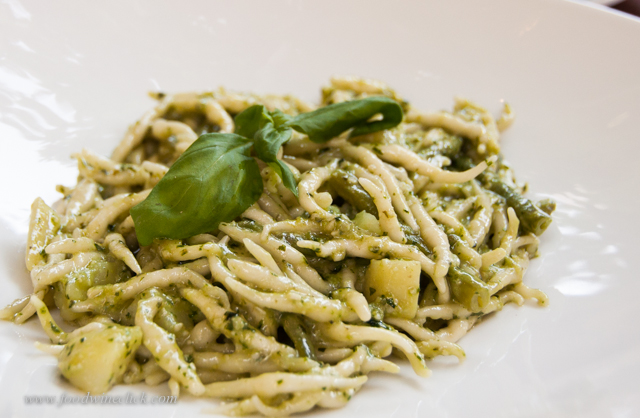 The real thing: trofie (pasta) al pesto, handmade pesto, handmade trofie pasta in the Cinque Terre