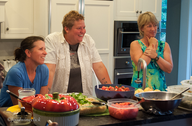 Elizabeth & Karla, our CSA farmers at a potluck at our house.  Julie (right) is not a CSA farmer.