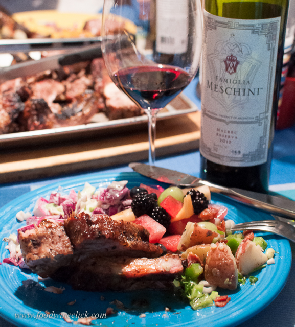 Ribs, salad, fruit - my wine of the evening was the Malbec