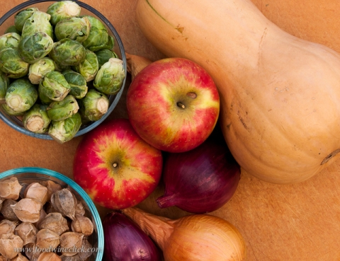 Apples & ground cherries add sweet highlights to brussels sprouts, onions & butternut squash