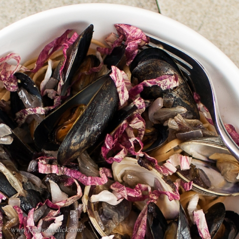 Cooked with the clams, the radiccchio bitterness is softened just enough.