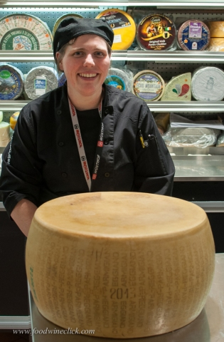 Kelsey, our local cheesemonger and a wheel of real Parmigiano-Reggiano
