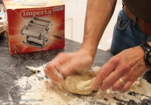 Just like our ravioli day, knead the dough.