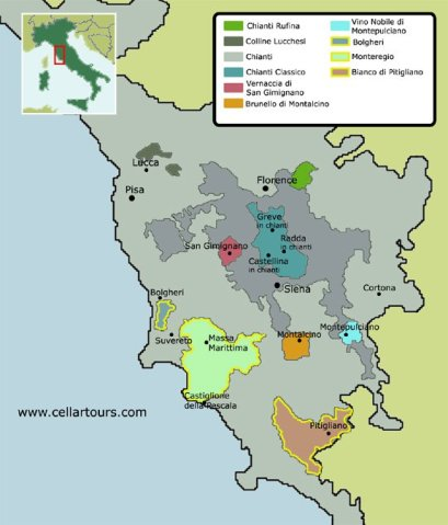 Tuscany map courtesy of cellartours.com