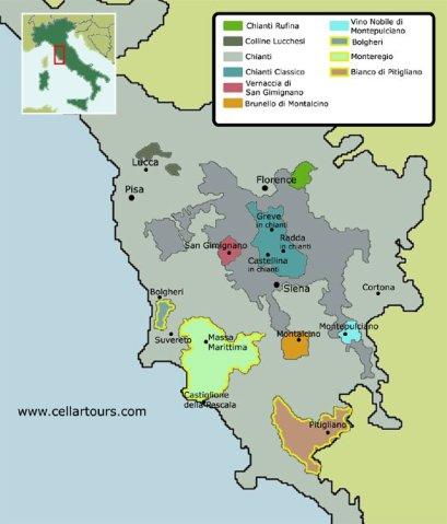 Tuscany map courtesy of cellartours.com