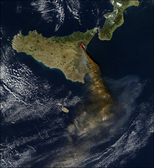 Beautiful image of Sicily, complete with Mt. Etna plume. Photo courtesy of NASA