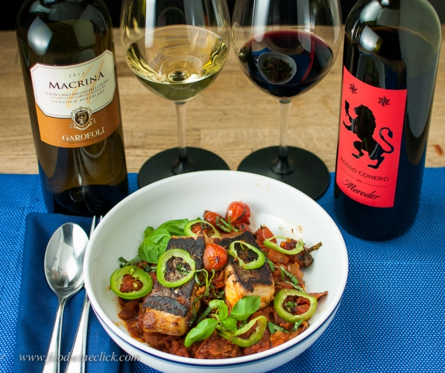 Wines from Le Marche with Pesce all'acqua pazza.