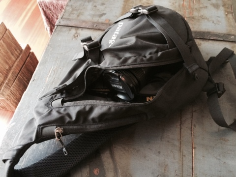 Everything fits in the sling bag, with extra room for sunglasses.