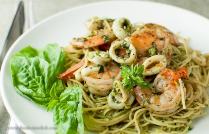 More seafood pasta, this time featuring a pistachio pesto sauce.
