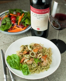 Frappato is a great choice for a light red to go with seafood. Refreshing!