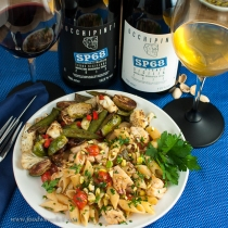 The red wine was good, but the skin-fermented white wine was just perfect with the seafood pasta.