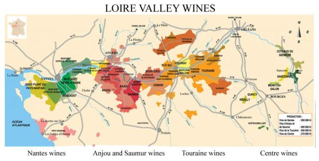 Loire valley map courtesy of http://www.loire-valley-tours.com