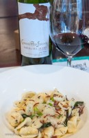 Our first Ribera was paired with orecchiette pasta & speck. Cured ham in the pasta begs for a nice red wine.