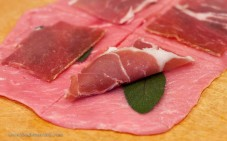 Prosciutto di Parma, fresh sage, and veal cutlets pounded thin