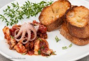Bruschetta seemed like a natural way to present the octopus in sauce