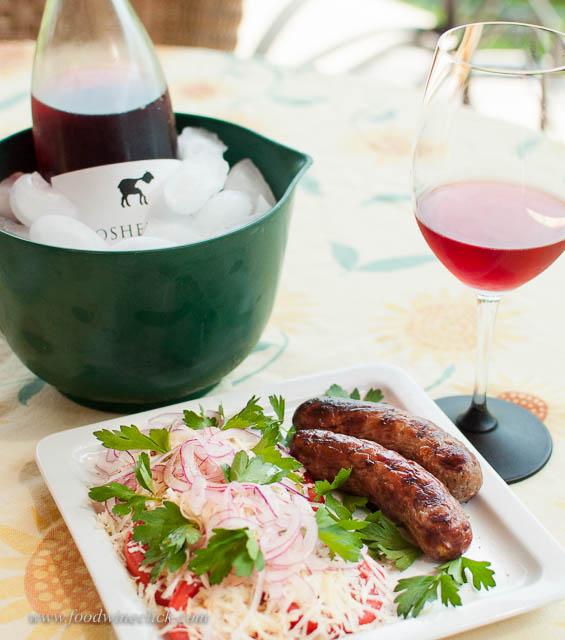 two shepherds rosé, bratwurst, salad