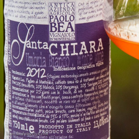 The labels of Paolo Bea wines are packed with information... in Italian