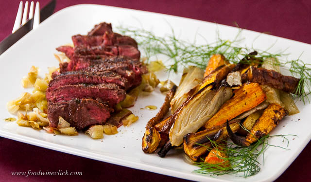 Umbrian style steak with roasted carrots and fennel