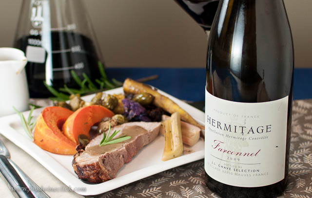 Fall vegetables and gravy on the meat provide plenty of rich earthiness for the wine.