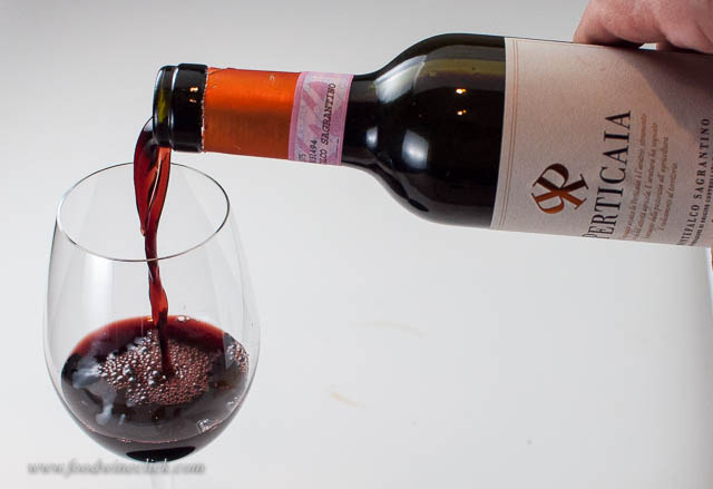 This wine pours inky dark in the glass.