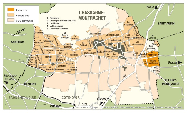 Climats (vineyards) in Chassagne-Montrachet. Map courtesy of www.bourgogne-wines.com