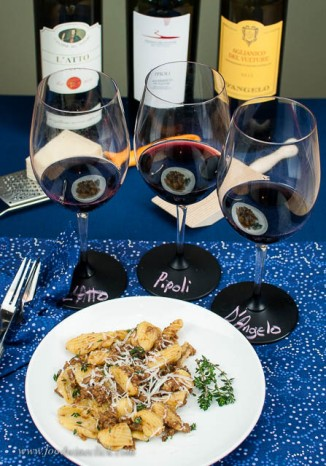 Handmade pasta with homemade sauce & Aglianico wines from Basilicata