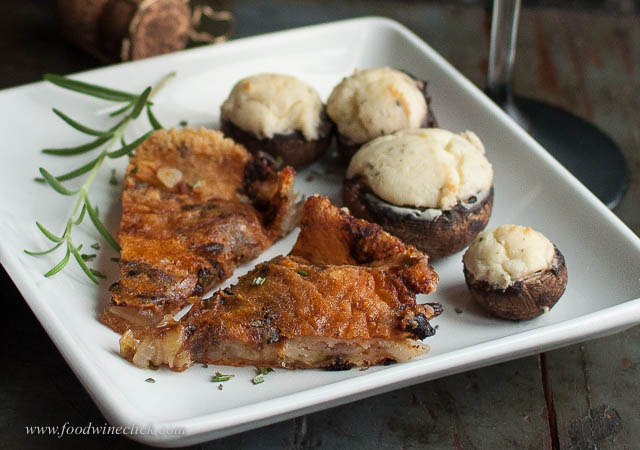 Crunchy frico and rich, creamy cheese stuffed mushrooms