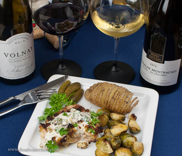 Mustard chicken with a couple of beautiful burgundies