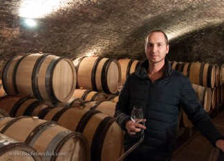 Tasting with Thibault Morey in the barrel room at Morey Coffinet