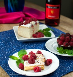 At brunch, try a sour cream strudel garnished with raspberries, strawberries, or fresh cherries