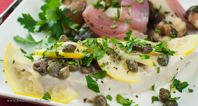 Steamed swordfish Bagnara style, with lots of lemons and capers