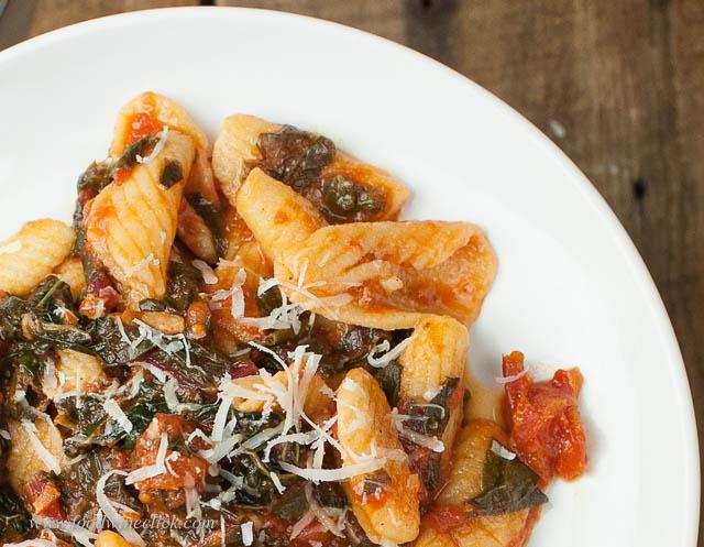 Homemade Cavatelli and a quick pasta sauce, yum!