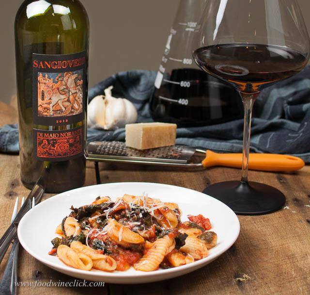 Cavatelli pasta dish with Di Majo Norante Sangiovese from Molis