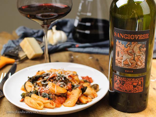Di Majo Norante Sangiovese and cavatelli with swiss chard tomato sauce