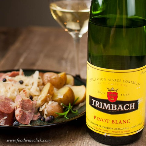 A nice, aromatic Pinot Blanc will complement that sauerkraut