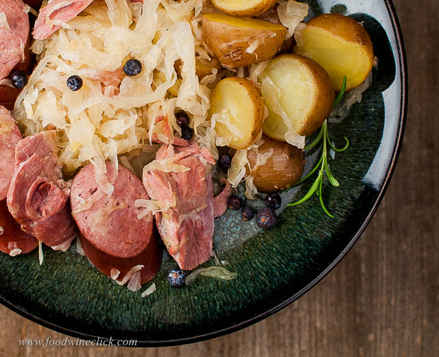 A plate of Choucroute Garni is sure to warm you up on a winter evening!